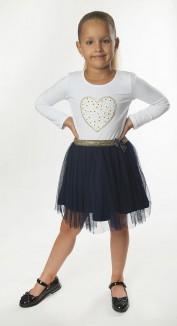 Wanex Платье детское с длинным рукавом бело синее с фатиновой юбкой