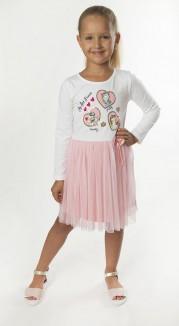 Wanex Платье детское с длинным рукавом белое с единорожками и розовой фатиновой юбкой