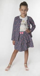 Wanex Комплект детский серый в горох кофточка и юбка
