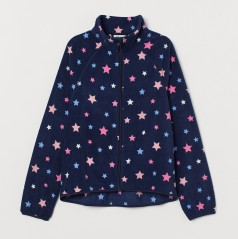 H&M Флисовая кофта для девочки синяя со звёздами