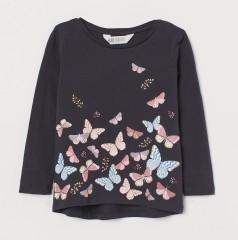 H&M Футболка с длинным рукавом для девочки тёмно-серая с бабочками