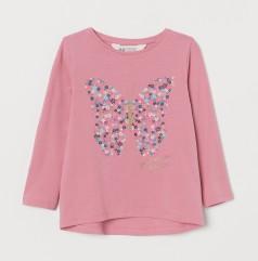 H&M Футболка с длинным рукавом для девочки розовая с бабочкой