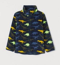 H&M Детская кофта флисовая синяя с динозавриками