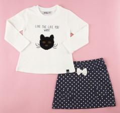 Wanex Комплект с кошкой белый лонгслив с пайетками-перевертышами и темно-синяя юбка в горох