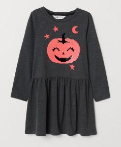 H&M Платье с длинным рукавом для девочки серое с тыквой