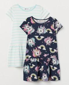 H&M Комплект платьев детский с единорогами