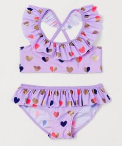 H&M Купальник для девочки фиолетовый с сердечками
