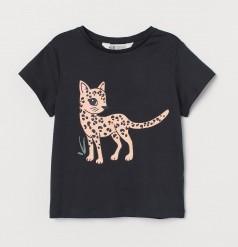 H&M Футболка детская чёрная с леопардом