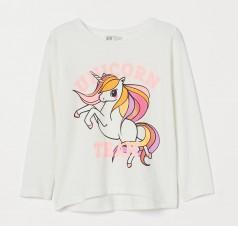 "H&M Футболка с длинным рукавом для девочки ""Unicorn"" белая"
