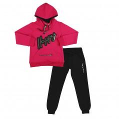 Wanex Спортивный костюм для девочки малиновое худи и чёрные спортивные штаны