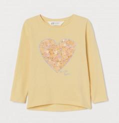 """H&M Футболка с длинным рукавом для девочки """"Сердце"""" жёлтая"""
