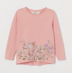 """H&M Футболка с длинным рукавом для девочки """"Полянка цветов"""" розовая"""