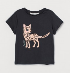 H&M Футболка для девочки чёрная с леопардом