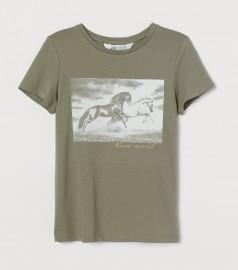H&M Футболка для девочки хаки с лошадями