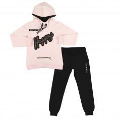 Wanex Спортивный костюм розовое худи и чёрные спортивные штаны