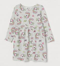 """Платье с длинным рукавом для девочки серое """"Мелкие единороги"""""""