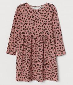 H&M Платье с длинным рукавом для девочки леопардовое розовое