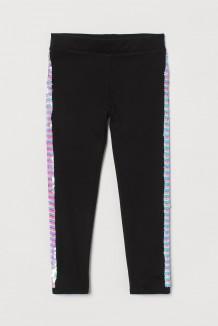 H&M Леггинсы для девочек чёрные с пайетками