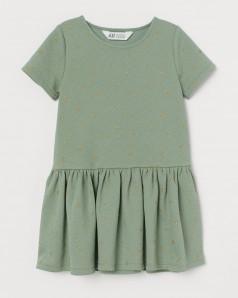 H&M Платье для девочки зеленое с золотыми цветочками