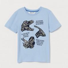Футболка для мальчика голубая с динозаврами в пайетках