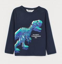 H&M Футболка с длинным рукавом для мальчика синяя с динозавром