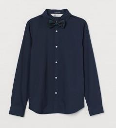 H&M Рубашка для мальчика темно-синяя с бабочкой
