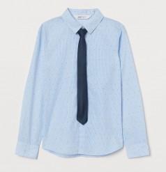 H&M Рубашка для мальчика голубая с галстуком