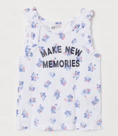 H&M Майка для девочки белая с цветочками