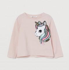 """H&M Футболка с длинным рукавом для девочки """"Единорог в пайетках"""" розовая"""