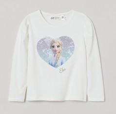 """H&M Футболка с длинным рукавом для девочки белая """"Холодное сердце"""""""