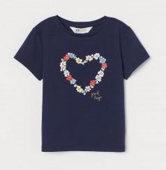 H&M Футболка для девочки синяя с цветами