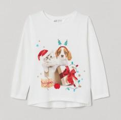 """H&M Футболка с длинным рукавом для девочки белая """"Котик и собака"""""""