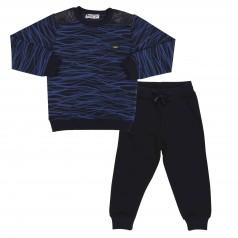 Wanex Спортивный костюм для мальчика черно-синий в полоску свитшот и черные штаны