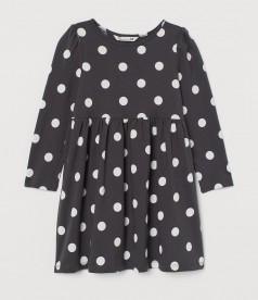 H&M Платье с длинным рукавом для девочки чёрное в горох