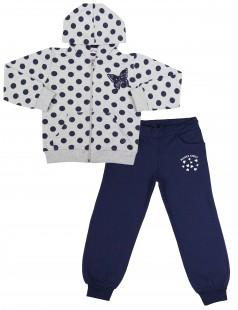 Wanex Спортивный костюм для девочки серая олимпийка в синий горох и синие спортивные штаны