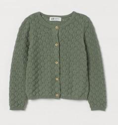 H&M Кофта для девочки зелёная с вязаными узорами