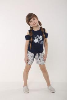 Wanex Летний комплект для девочки футболка с очками и серые шорты с растительный принтом