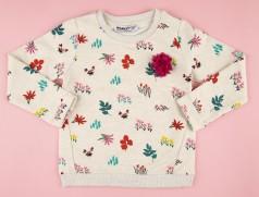 Wanex Свитшот для девочки бежевый с кустиками и цветами