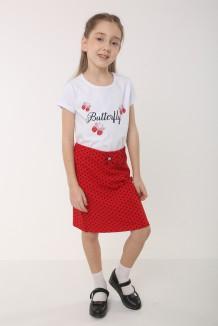 Wanex Комплект для девочки белая футболка со стразами и красная юбка в горох