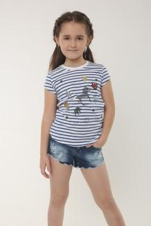Wanex Футболка для девочки в бело-синюю полоску с зеброй и пайетками