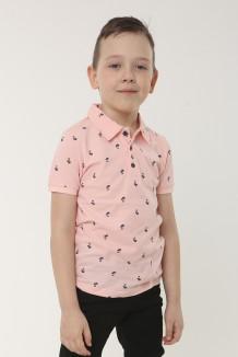 Wanex Футболка поло для мальчика розовая с мелким принтом в виде пальм