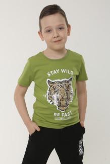 Wanex Футболка для мальчика хаки с пайетками-перевёртышами в виде головы тигра