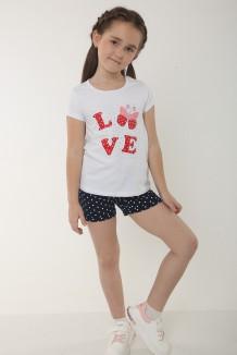 Wanex Комплект для девочки белая футболка с принтом и синие шорты в белый горох