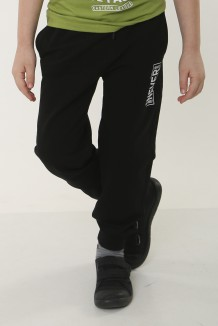 """Wanex Спортивные штаны для мальчика чёрные """"Never"""" двунить"""