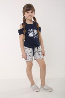 Wanex Комплект детский синяя футболка с очками с и серые шорты в цветочек