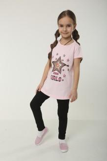 Wanex Комплект детский розовая футболка со звездой и черные леггинсы