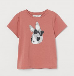 H&M Футболка детская тёмно-розовая с зайцем