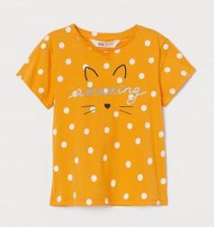 H&M Футболка детская оранжевая в горох с мордочкой котика