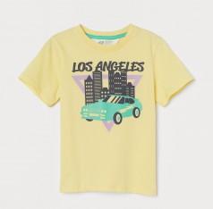 H&M Футболка для мальчика жёлтая с принтом машины и Los Angeles