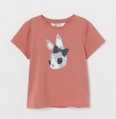 H&M Футболка для девочки розовая с зайцем